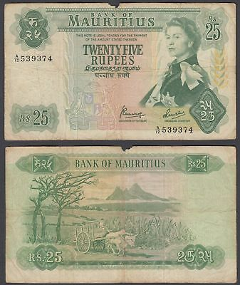 Mauritius 25 Rupees 1967 (VG-F) Condition Banknote KM #32 QEII Paper Money