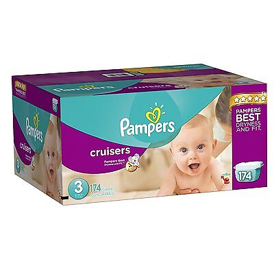 NEW! FREE SHIPPING! Pampers Cruisers Diapers Size 3 (16–28 lb), 174 Count