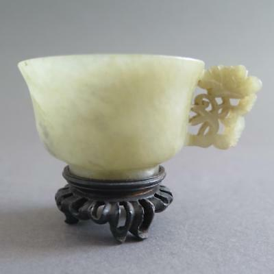 Very Fine And Early Antique Chinese Jade Handled Cup Lovely Floral Carving [164]