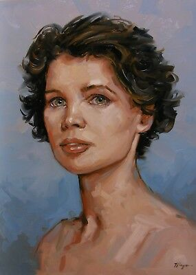 Original Oil painting - portrait - young woman with green eyes  -  by j payne