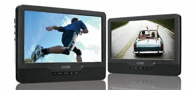 New Logik Portable Dual Dvd Player - 9'' Twin Screen - In Car - Remote - Usb