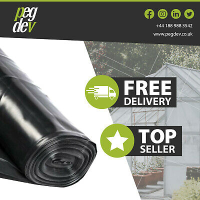4M Wide 250G Black Polythene Plastic Sheeting Garden  Weeds Gravel Diy Material