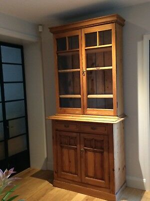 Victorian pitch pine dresser with glass display cupboards with shelves.