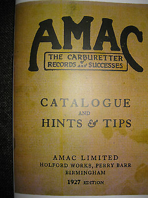 Vintage Amac 1927 Catalogue With Hints & Tips