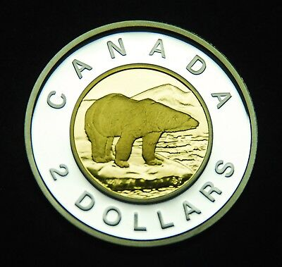 2009 $2 proof silver .925% gold-plated inner core - shows brilliantly