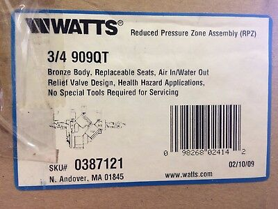WATTS 3/4 909QT Reduced Pressure Zone Assembly