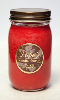 Highly Scented Soy Candles Papa's Candle Shoppe Christmas Hearth 16oz Mason Jar!