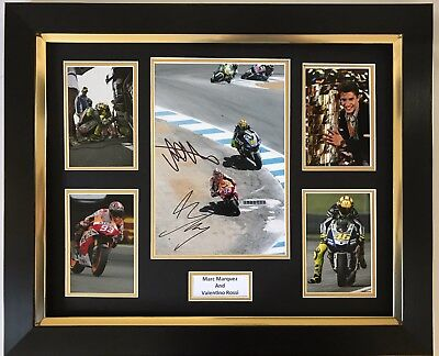 Marc Marquez And Valentino Rossi Hand Signed Framed Photo Display Motogp Proof.