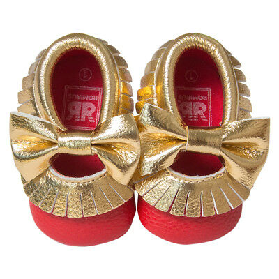 Baby Moccasins Soft Butterfly-knot Tassels Prewalkers Shoes Red Gold 12cm C U2S7