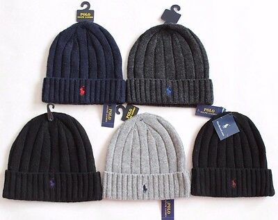 New Polo Ralph Lauren Men's Wool Beanie Winter Skull Cap Pony Logo Hat U Choose!