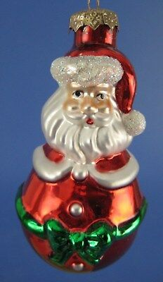 Santa Claus Glass Christmas Tree Ornament Thomas Pacconi Green Bow