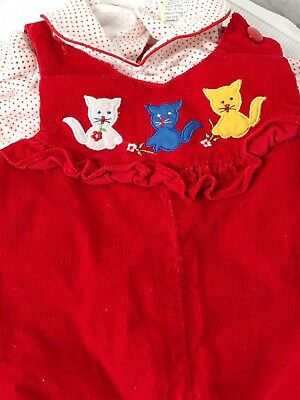 VTG Baby Girl 3-6 Mo Red Suspenders W/ Kittens Unique And Cute Christmas