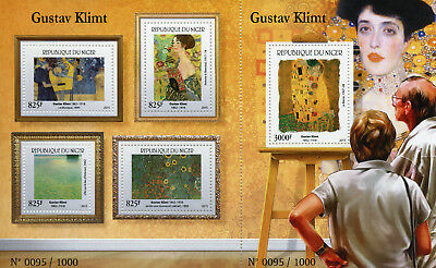 Niger 2015 MNH Gustav Klimt The Kiss 4v M/S + 1v S/S Art Paintings Stamps