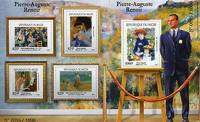 Niger 2015 MNH Pierre-Auguste Renoir 4v M/S + 1v S/S Art Paintings Stamps