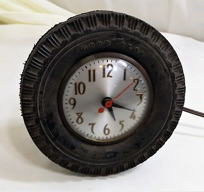 Vintage Goodyear Rubber Tire Clock with Sessions Electric Movement and Stand