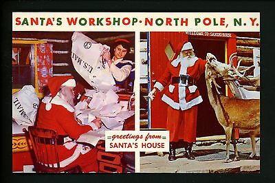 Amusement Park postcard North Pole, New York NY Santa's Workshop reindeer Santa