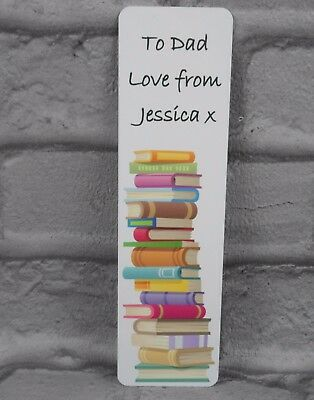 Personalised Metal Bookmark Any Name and Message Book Gift Teacher Dad