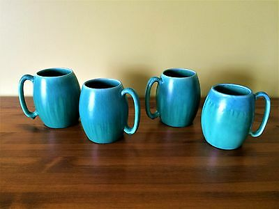 Vintage Devonmoor Pottery made in England Set of 4 Aqua and Turquoise Mugs RARE
