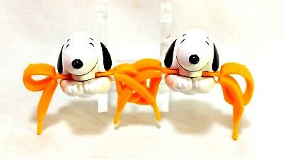 Brookside Vintage 1989 Peanuts Snoopy Flying Ace Shoe Lace Bow Biters Loose EUC