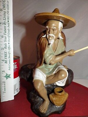 VINTAGE SHIWAN Ceramic Glazed Art Pottery Chinese Figurine Mud Man with Hat