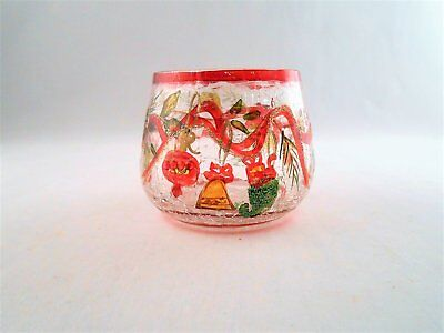 Yankee Candle Co Crackled Glass Painted Holiday Garland Votive Candle Holder