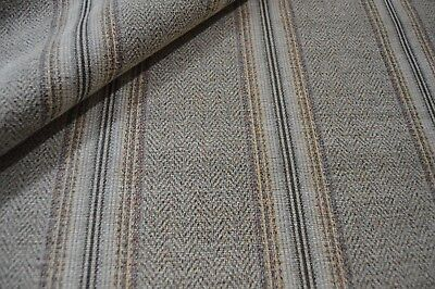 Grey Beige Red Herringbone Upholstery Fabric Chenille Striped