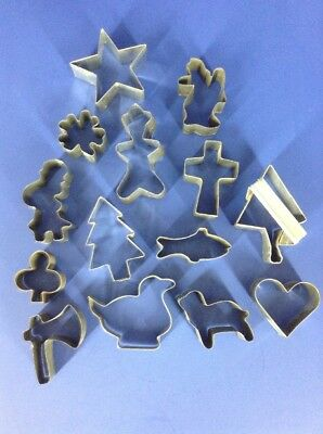 Vtg Lot 14 of Metal Cookie Cutters~Christmas Religious Christian Theme