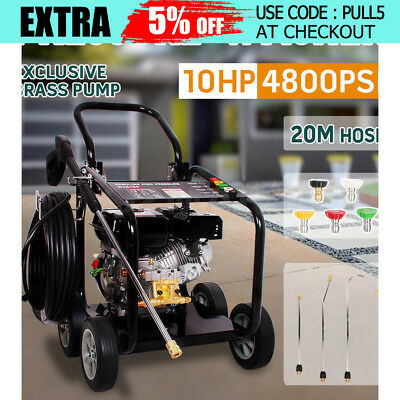 Petrol 10HP 4800PSI High Pressure Water Washer Cleaner  20M Hose Jet Machine AU