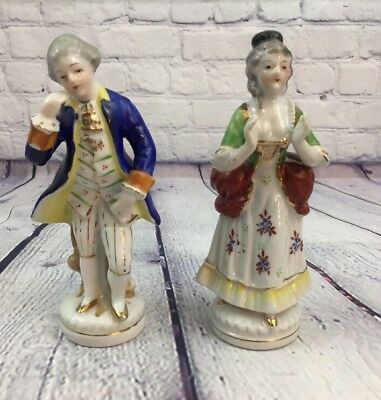 "Vintage Occupied Japan Victorian Style Porcelain Man Woman Figurine - 6.5"" Tall"