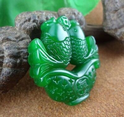 Chinese Natural jade hand-carved green goldfish lucky pendant necklace
