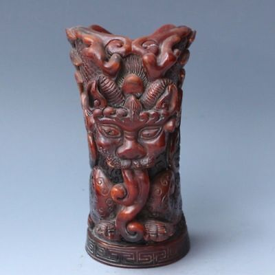 Chinese Exquisite Hand-carved Mythical Animals carving OX horns cup