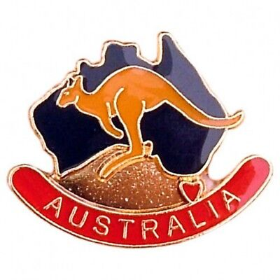 Australian Souvenir Enamel Australia Map Kangaroo Hat Pin Lapel Badge Gold Plate