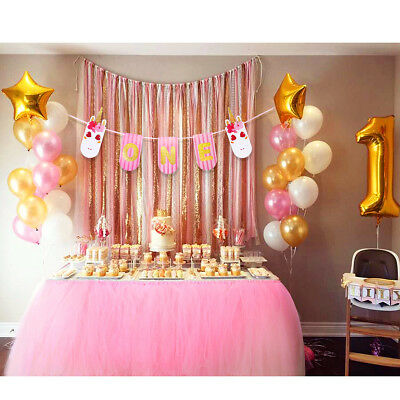 Baby 1st Birthday Pink Tutu Tulle Skirt Banner For High Chair Table Decoration