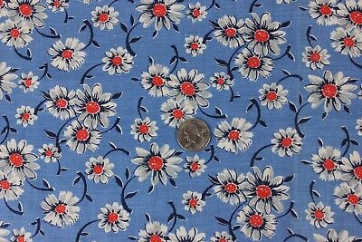 "Vintage Cotton Printed Blue Daisy Feedsack Fabric c1940s~Quilters~16""LX19""W"