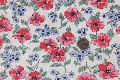 "Genuine Vintage Cotton Pink & Blue Floral Feedsack Fabric c1940s~28""LX32""W"