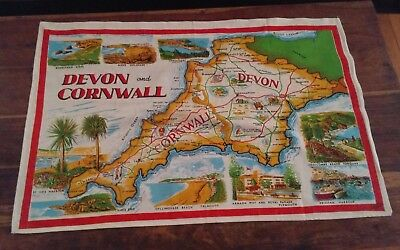 Vtg cotton linen tea towel Vista Devon and Cornwall map Landmarks England UK