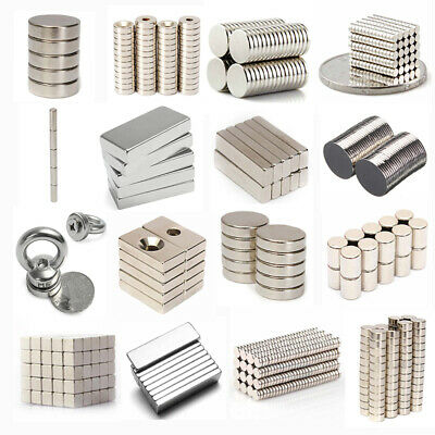 100X N50 Super Strong Disc Magnets Rare Earth Neodymium Cube Block Round Magnet
