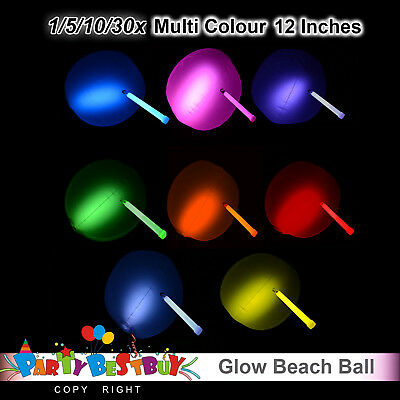 1/5/10/30x 12inches Glow Beach Ball Glow Sticks balls Party Glow in the dark Glo