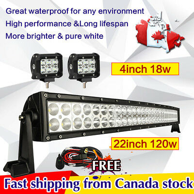 22inch Curved LED Light Bar + 2x 4in CREE LED Lights Pods Jeep Truck SUV ATV 20