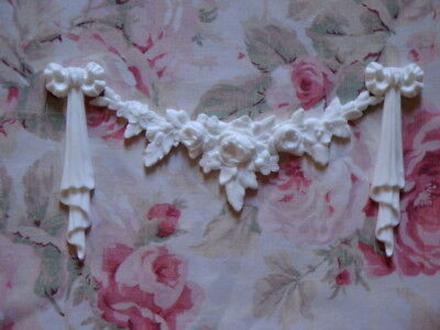 New! Gorgeous! Rose Swag with Bow Drops Set Furniture Applique Pediment