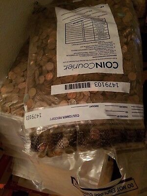 2 Never Searched Sealed Bank Bags ($100 FV) US Copper Pennies Pre 1982 68 LBS