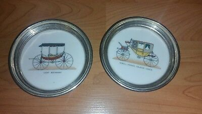 Two Sterling Silver Coasters with old cars on them Lenox Silver # 558