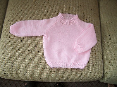 New Hand Knitted Baby Jumper Pink   6 - 9   Months Approx
