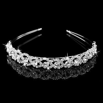 Crystal Rhinestone Wedding Bridal Diamante Tiara Headband Hair Band Clasp UK