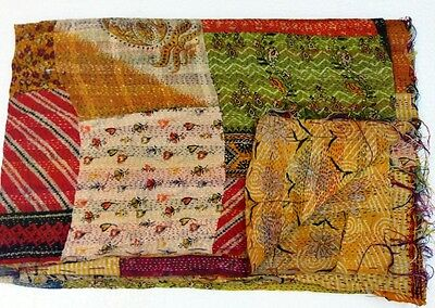 Kantha Quilt Thin Twin Size Cotton Bedspread Multicolor Patch Work Reversible