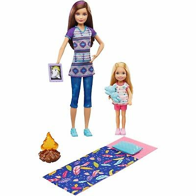 Barbie Camping Fun Skipper & Chelsea Dolls with Smores & Campfire Accessories