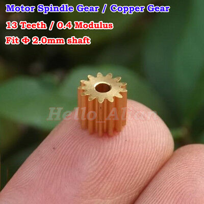 Metal Copper Gear Motor Spindle Spur Gear 0.4 Module 13 Teeth 2mm ID Accessories