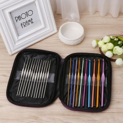 22 pcs Multi Coloured Aluminium Crochet Hooks Yarn Knitting Needles Set Kit