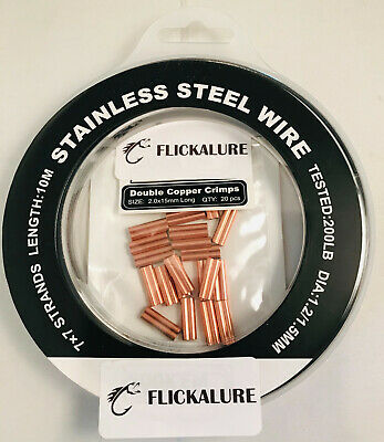 Stainless steel wire trace plastic coated with 20 crimps 10 mtr roll 1.5mm 200lb