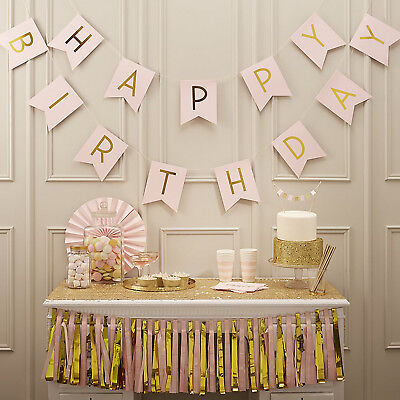 Creat Fun Pastel Happy Birthday Bunting Garland Gold Letter Party Hanging Banner